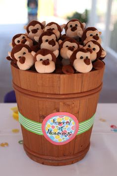 Barrel Full of Monkeys decoration AND plushies for a party favor