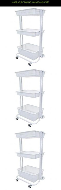 Luxor 3-Shelf Rolling Storage Cart, White #plans #basket #laundry #gadgets #racing #camera #3 #tech #parts #shopping #products #fpv #kit #technology #storage #drone