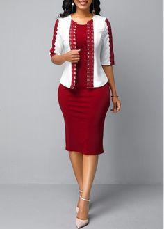 Half Sleeve White Cardigan and Back Zipper Dress - Women's Fashion Trends Two Piece Dress, The Dress, Slit Dress, Club Party Dresses, Half Sleeve Dresses, White Cardigan, Trendy Clothes For Women, Casual Dresses, Xmas Dresses