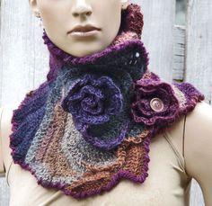 Crochet  Scarf  Capelet / Neck Warmer / Freeform by Degra2 on Etsy