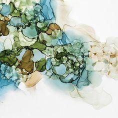 Aqua Blue Alcohol Ink Modern Art by Kristy Swanson