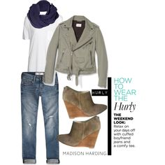 "Pretty sure I'm already work'n this easy style! Sucker for the moto jackets!    ""How to wear the Hurly"" by madisonharding on Polyvore"