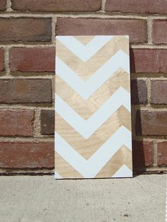 wood + white + chevron