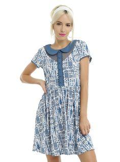 Doctor Who TARDIS Print Peter Pan Collar Dress, BLUE