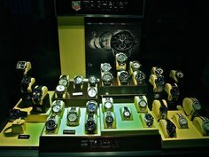 New display full of exquisite Tag Heuer models, ready for the Christmas sale. Tag Heuer, Watch Brands, Christmas Sale, Display, Watches, Top, Collection, Floor Space, Billboard