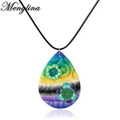 Menglina Fashion Multicolor Fimo Clay Pendant Necklace Multicolor Waterdrop Shape Children's Jewelry DIY Necklaces Gifts