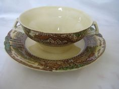 Mott Son & Co Hanley England's Countryside Cream Soup Bullion Cup And Saucer…