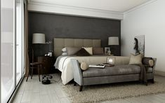 Grey brown taupe sophisticated bedroom