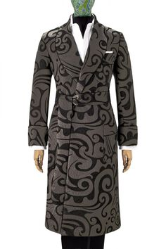 Pewter Swirl Jacquard Lined Silk Dressing Gown - Dressing Gowns - Nightwear | New & Lingwood