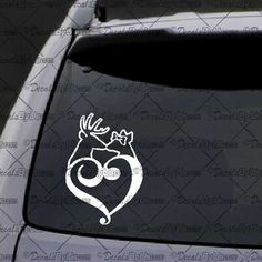 Deer Heart Couple Decal – Decal - Car Window Decal - Sticker – White