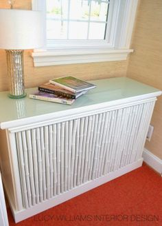 Bamboo radiator cover.  Fun!  Lucy Williams Interior Design