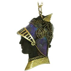 Art Nouveau Boulder Opal Iron Gold Roman Soldier Pendant | From a unique collection of vintage more necklaces at https://www.1stdibs.com/jewelry/necklaces/more-necklaces/