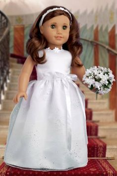 White satin communion, wedding dress with silver sparkling organza skirt, white ribbon with a bow at the waist, beautiful flowers at the neckline, matching headband and white leather like shoes. - Dol