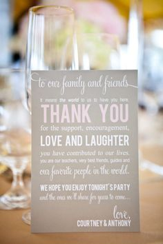 such a sweet note! love this for the tables at the reception... put the menu on the back!