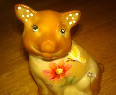 Fenton Art Glass Chocolate Brown Pig Figurine Butterfly Flower Hand Signed QVC