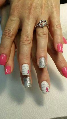 Get Nails, How To Do Nails, Hair And Nails, Shellac Nail Art, Nail Polish Art, Manicure And Pedicure, Pedicures, Mani Pedi, Breast Cancer Nails