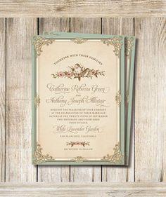 Printable Wedding Invitation Set  Dyi Invitation by RoseBonBonShop, $33.00