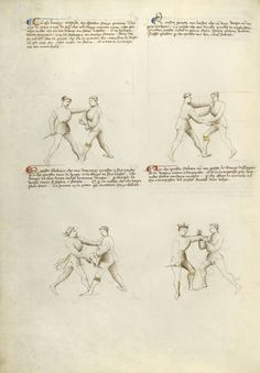 Combat with Dagger Artist/Maker(s): Fiore Furlan dei Liberi da Premariacco, author [Italian, about 1340/1350 - before 1450] Date: about 1410 Medium: Tempera colors, gold leaf, silver leaf, and ink on parchment Dimensions: Leaf: 27.9 x 20.6 cm (11 x 8 1/8 in.) Object Number: 83.MR.183.15v Department: Manuscripts