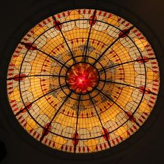 Illuminated Stained Glass Domed Ceiling In The Lobby Of The Marriott World Financial Center In Manhattan,Ny