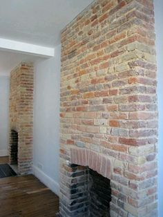 Most Simple Tips: Fireplace Hearth Kitchen Witchery gray stone fireplace.Fireplace Living Room Diy farmhouse fireplace with windows. Exposed Brick Fireplaces, Tall Fireplace, Fireplace Bookshelves, Fireplace Garden, Double Sided Fireplace, Fireplace Cover, Brick Fireplace Makeover, Shiplap Fireplace, Concrete Fireplace
