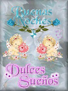 Ver imagen de dos angelitos acompañados de lindas rosas con brillo y movimiento junto a la frase: Buenas Noches Dulces Sueños