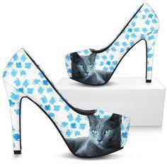 c9efffc6f09cb Russian Blue Cat Print Heels- Free Shipping