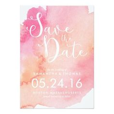 Pink And Orange Watercolor Save The Date Card
