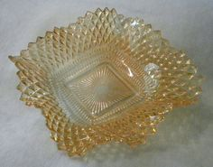 Vintage Depression Glass Ruffled Amber Dish, Diamond Point Pattern by Indiana Glass. $11.95, via Etsy.