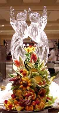 Ice Sculpture & Fruit Carving Centerpiece Kids Activity Books, Activities For Kids, Wedding Event Planner, Destination Wedding, Fruit And Vegetable Carving, Ice Sculptures, Centerpiece Decorations, Wedding Reception Decorations, Love And Light