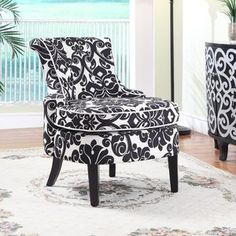 Powell Furniture Floral Print Diana Swoop Back and Cap Arm Accent Chair in Black and White