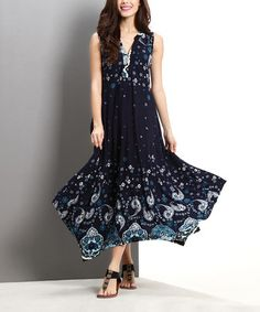 This Navy Paisley Notch Neck Handkerchief Maxi Dress by Reborn Collection is perfect! #zulilyfinds