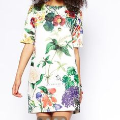 ASOS shift dress with botanical plant print Super chic and cool. Loose fit ASOS Dresses Midi