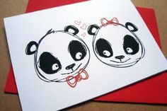 I love you greeting card - panda love . By letterhappy on Etsy. Love Anniversary, Anniversary Cards, Panda Meme, Panda Party, Bear Card, Romantic Cards, Pure Fun, Love Valentines, Valentine Cards