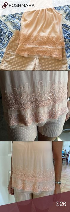 🌟BNWT Loft Sleeveless Top & Shorts Set TOO PERFECT TO SEPARATE. This is absolutely beautiful. Soft peach or blush flowing top. The beadwork is extraordinary and because they are the same color as the top, it is very subtle. Shorts are gorgeous in khaki with the same blush polka dots. Classy and from a smoke free home. LOFT Shorts
