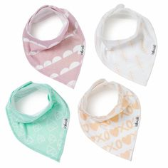 4 different organic cotton patterned bibs for girls