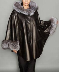 The Fur Vault Plus Size Fox-Fur-Trim Leather Cape