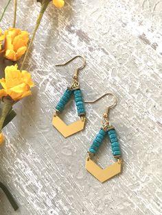 Boho Earrings Turquoise Earrings Stud Earrings Triangle Earrings Delicate Earrings Jacy Sterling Silver Earrings