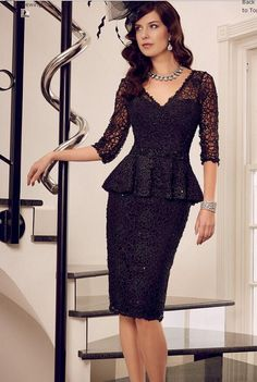 2015 New Ronald Joyce Mother of the Bride Dresses Sheath Black V Neck 3/4 Long Sleeves Knee Length Lace Beads Mother Dress with Peplum, $129.85 | DHgate.com