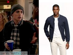 Leo Roth (Charlie Rowe) wears this navy blue and white varsity bomber jacket with striped cuffs and collar in this week's episode of Red Band Society. It is the J Crew Wallace & Barnes Baseball Bomber Jacket in Japanese Cotton. … Continue reading →