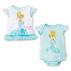 Disney® Princess Cinderella Newborn Girls' 2-Pack Bodysuit Set