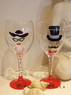 PERSONALISED HIS & HERS WINE GLASSES/NEW DESIGN/DATES OR NAMES ADDED AS REQUIRED | eBay