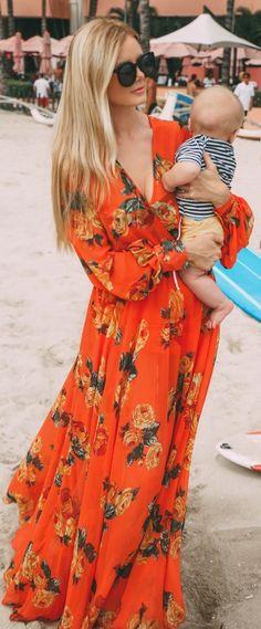 Orange Multi Floral Maxi Dress by Barefoot Blonde