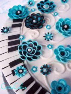 Piano keys and flowers Birthday Cake