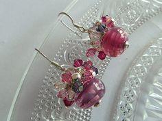 Pink Fizz  Dangly Earrings by SmittenKittenLoves on Etsy, €20.00