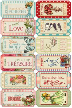 Beautiful vintage-looking tickets as free printables