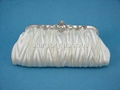 Off White Satin Pleated Wedding Clutch Jeweled Frame & Various 12 Colours