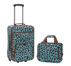 Rockland 2 Piece Luggage Set, Blue Leopard, One Size Rock...