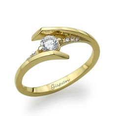 Unique 14k Yellow Gold with Half Carat Natural Diamond Gispan Engagement Wedding or Promise Ring
