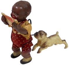 Toy, Black Americana, Poor Pete, Japanese celluloid wind-up w/cloth