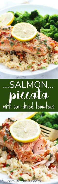 This Salmon Piccata with Sun Dried Tomatoes in a creamy, lemon sauce is a gourmet meal in under 30 minutes! The crispy outside of pan seared salmon is pure ecstasy when topped with a lemon butter, cream sauce with sun-dried tomatoes and capers. Top Recipes, Salmon Recipes, Fish Recipes, Lunch Recipes, Seafood Recipes, Healthy Dinner Recipes, Gourmet Recipes, Cooking Recipes, Seafood Meals